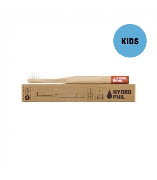 Szczoteczka do zębów z bambusa Hydrophil dla dzieci | Czerwona
