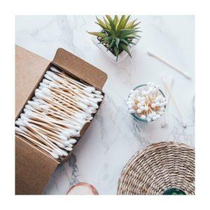 Patyczki do czyszczenia uszu bambusowe z bawelna organiczna biodegradowalne 400
