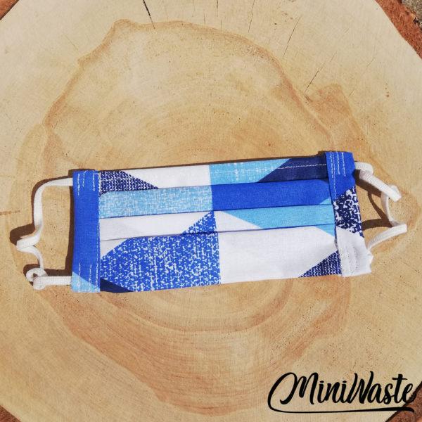 Dwuwarstwowa maseczka ochronna Miniwaste  Niebieskie trójkąty