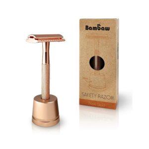 Maszynka do golenia +stojak +żyletka BamBaw Złoty Róż