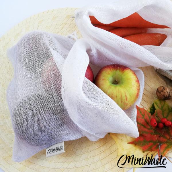 PROMOCJA Lniany woreczek na warzywa i owoce   Miniwaste 23x29 cm